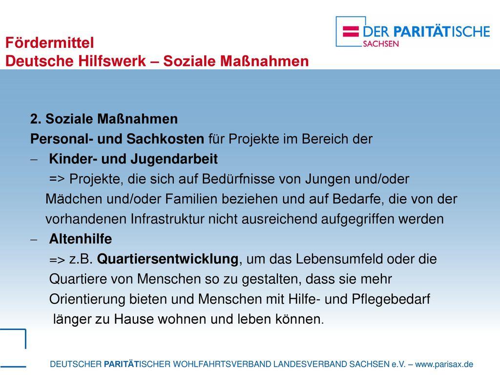 Fördermittel Deutsche Hilfswerk – Soziale Maßnahmen