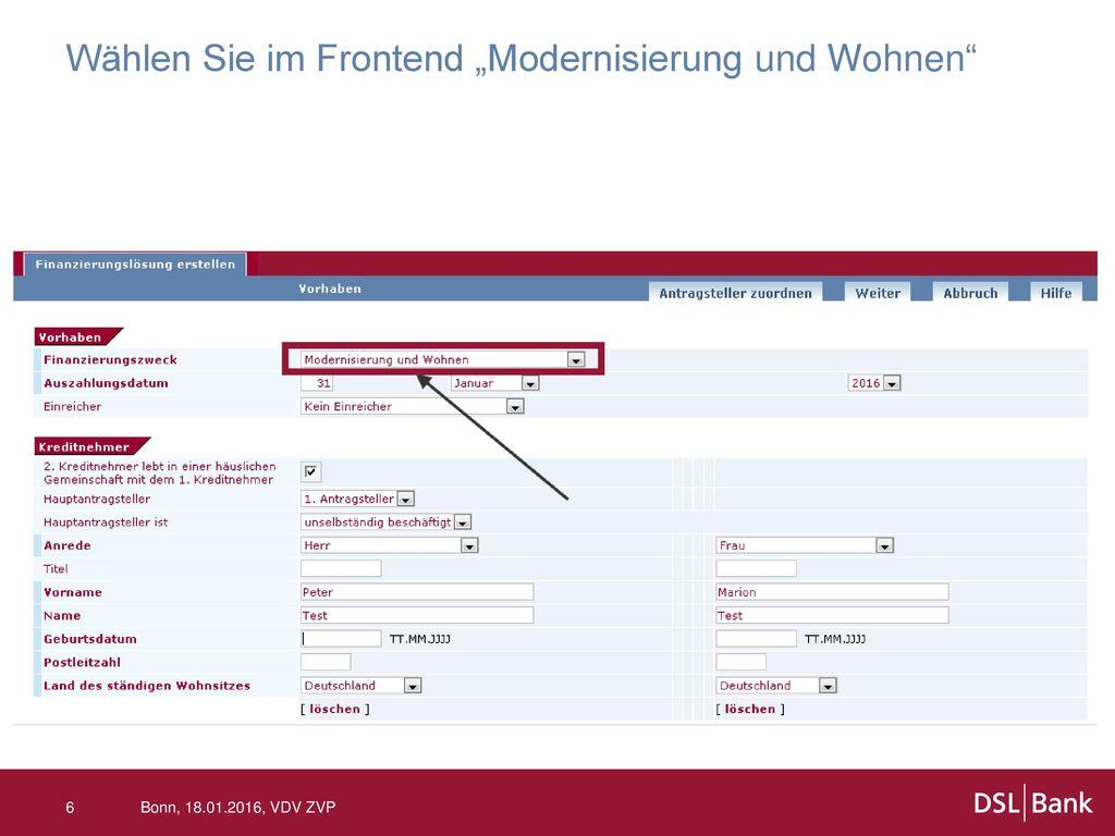 """Wählen Sie im Frontend """"Modernisierung und Wohnen"""