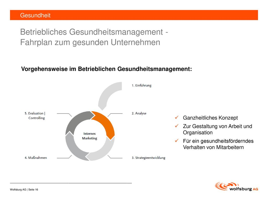 Gesundheit Betriebliches Gesundheitsmanagement - Fahrplan zum gesunden Unternehmen. Vorgehensweise im Betrieblichen Gesundheitsmanagement: