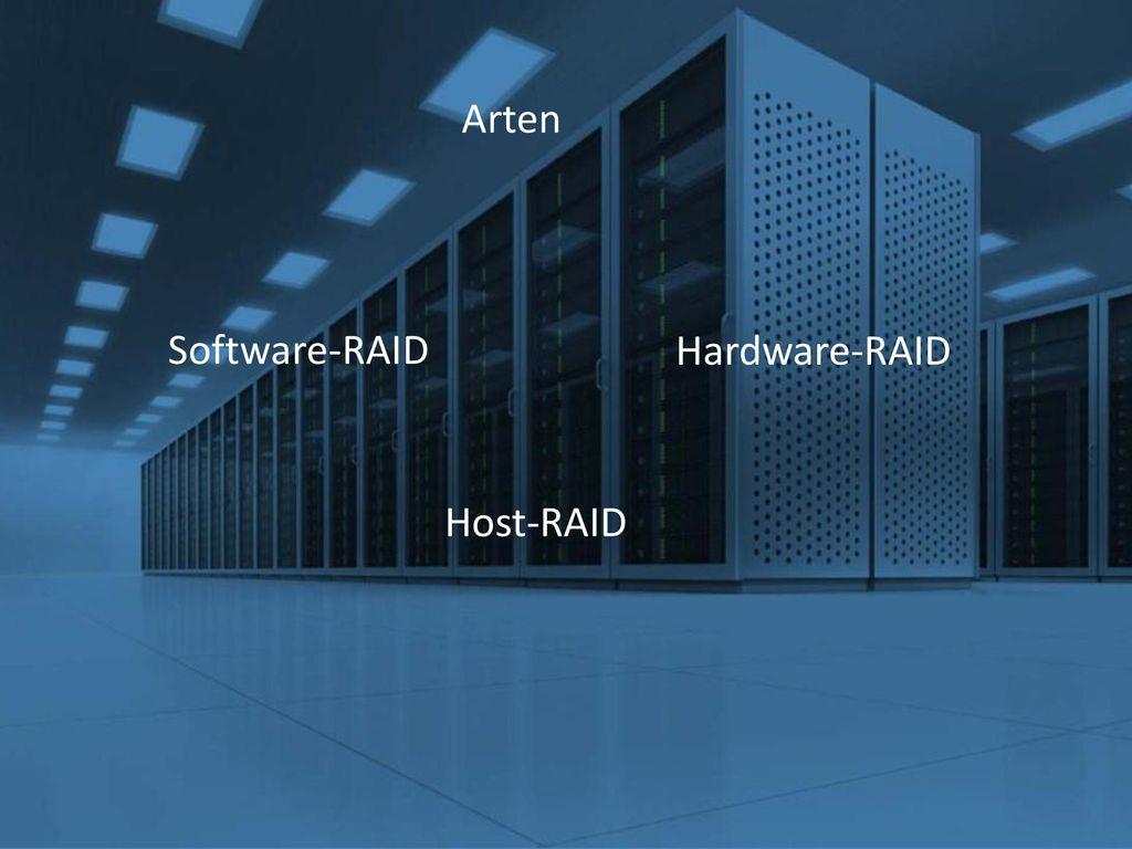 Arten Software-RAID Hardware-RAID Host-RAID