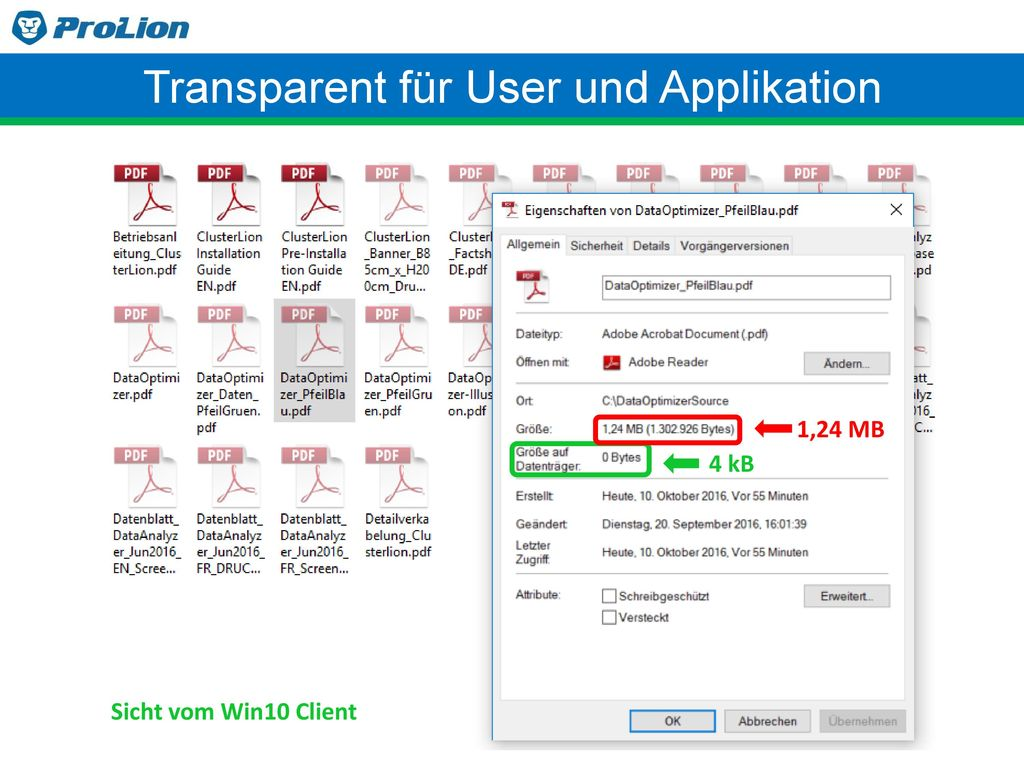 Transparent für User und Applikation