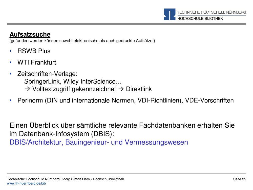 Einfache Suche Technische Hochschule Nürnberg Georg Simon Ohm - Hochschulbibliothek.
