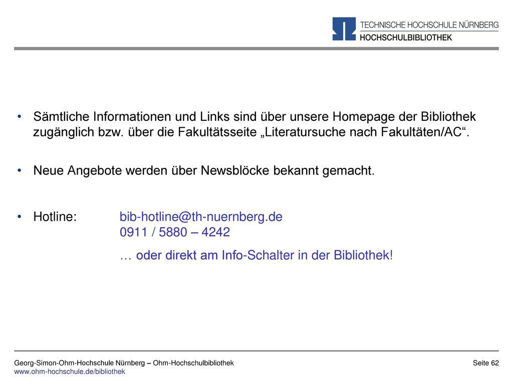 Technische Hochschule Nürnberg Georg Simon Ohm - Hochschulbibliothek