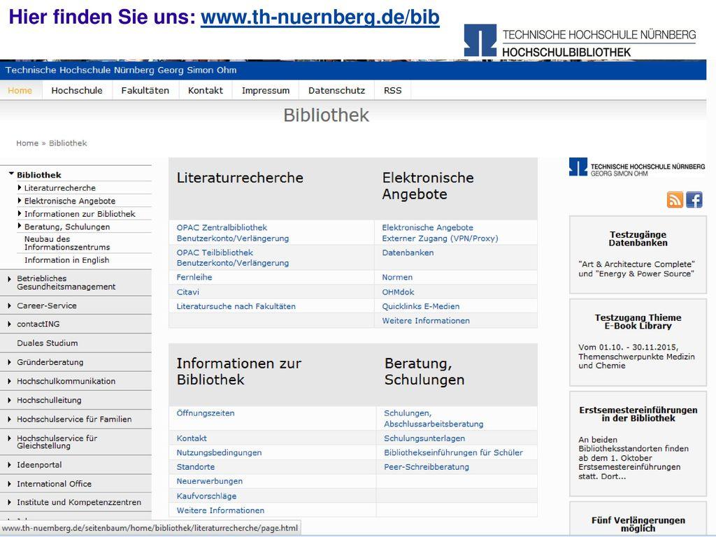 Hier finden Sie uns: www.th-nuernberg.de/bib