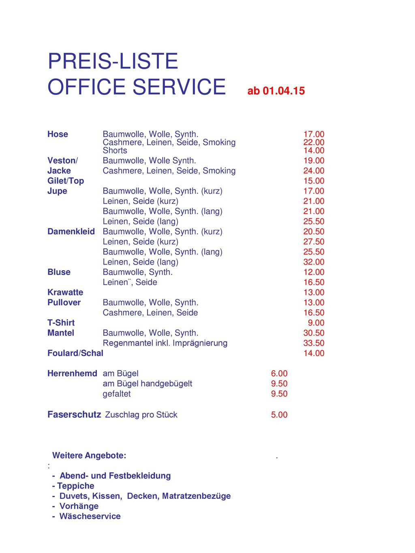 PREIS-LISTE OFFICE SERVICE ab 01.04.15