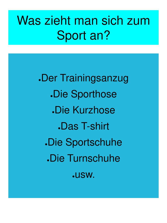 Was zieht man sich zum Sport an
