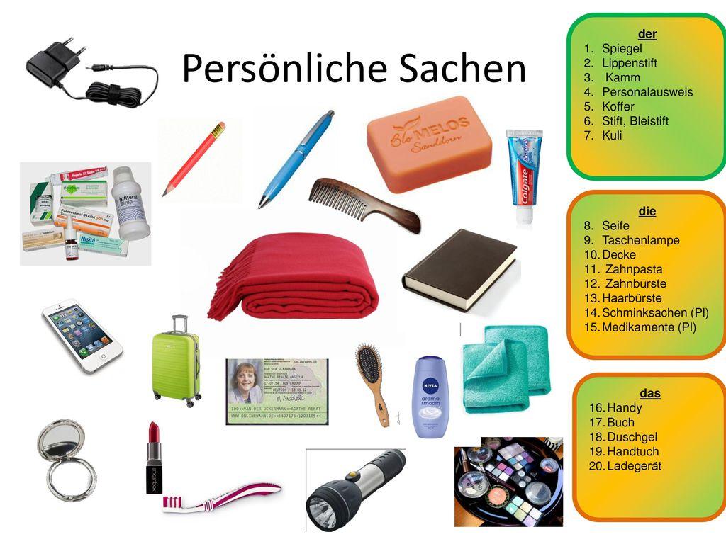 Persönliche Sachen der Spiegel Lippenstift Kamm Personalausweis Koffer