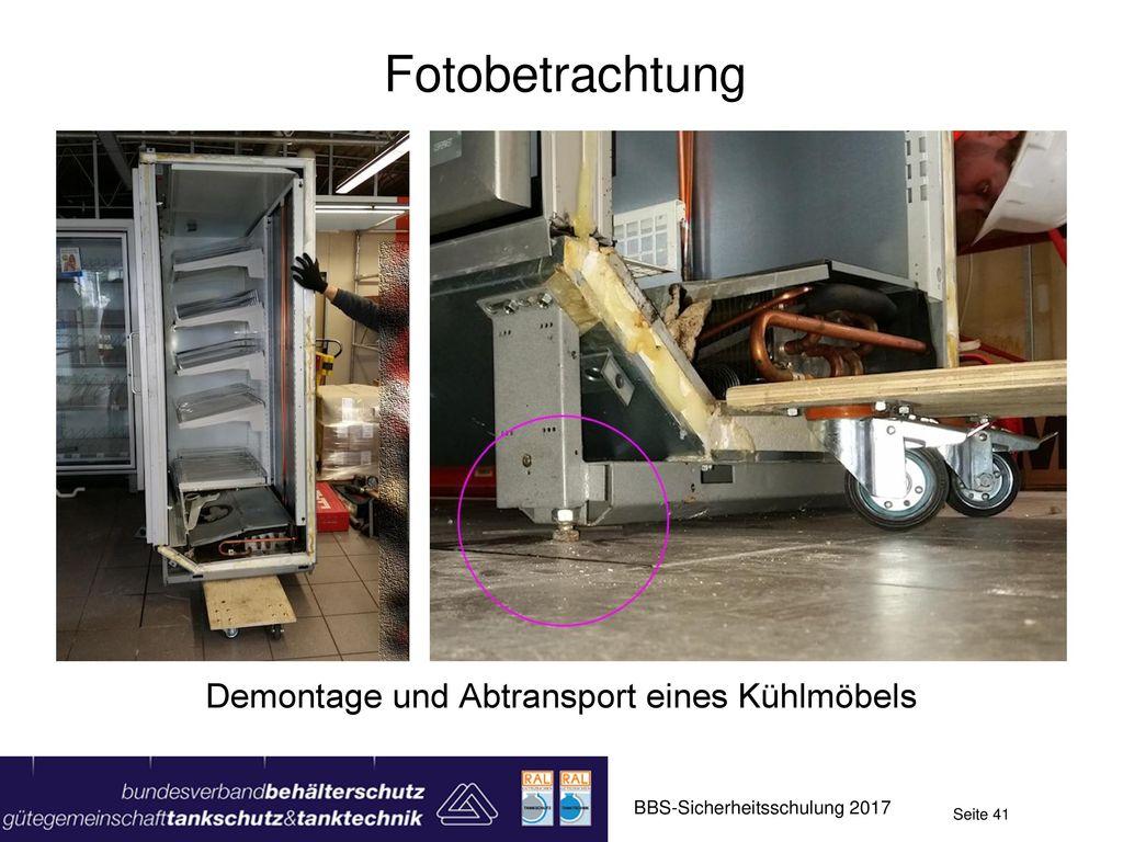 Demontage und Abtransport eines Kühlmöbels