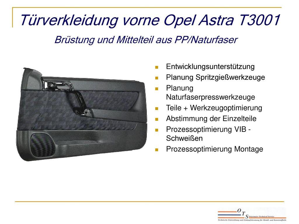 Türverkleidung vorne Opel Astra T3001 Brüstung und Mittelteil aus PP/Naturfaser