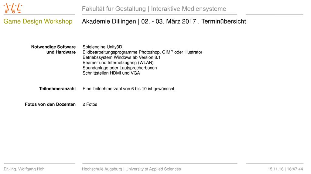 Akademie Dillingen   02. - 03. März 2017 . Terminübersicht