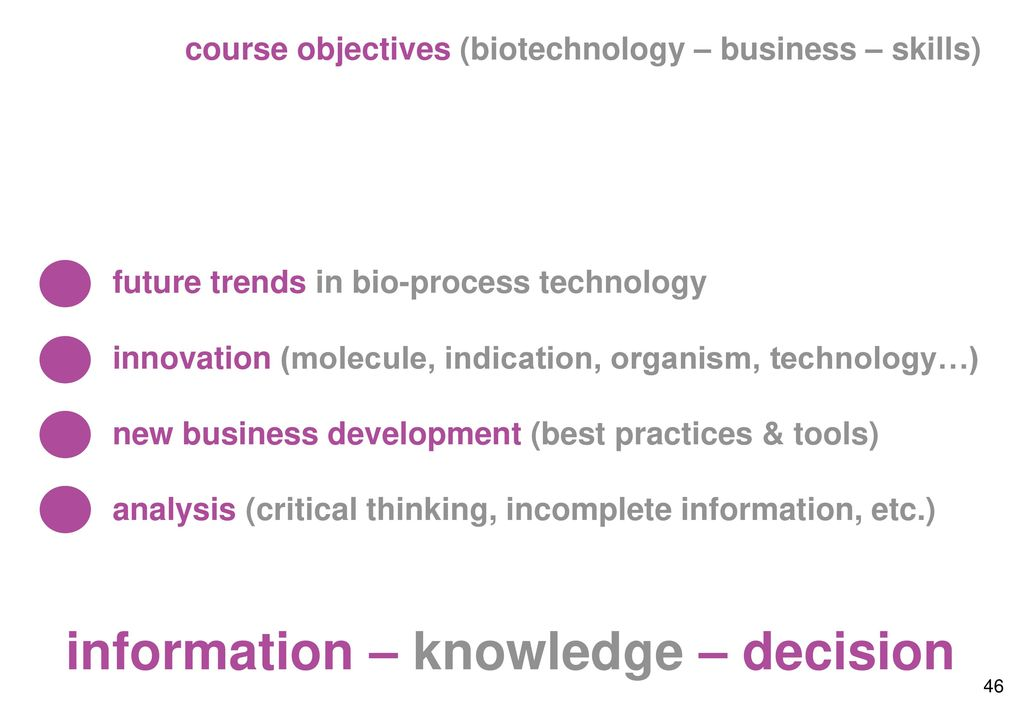 course objectives (biotechnology – business – skills)