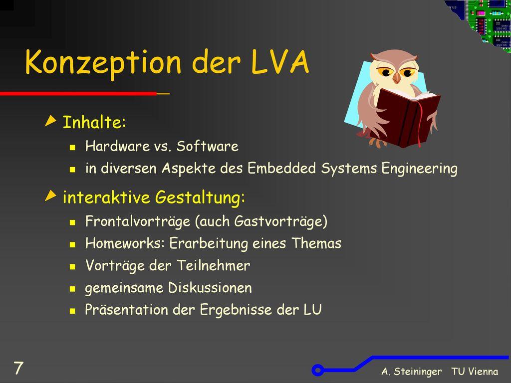 Konzeption der LVA Inhalte: interaktive Gestaltung:
