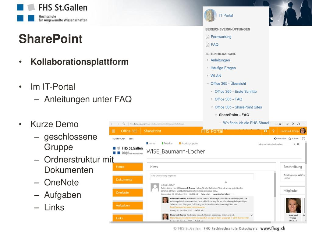 SharePoint Kollaborationsplattform Im IT-Portal Anleitungen unter FAQ