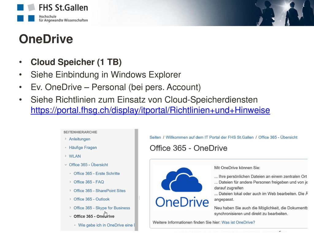 OneDrive Cloud Speicher (1 TB) Siehe Einbindung in Windows Explorer