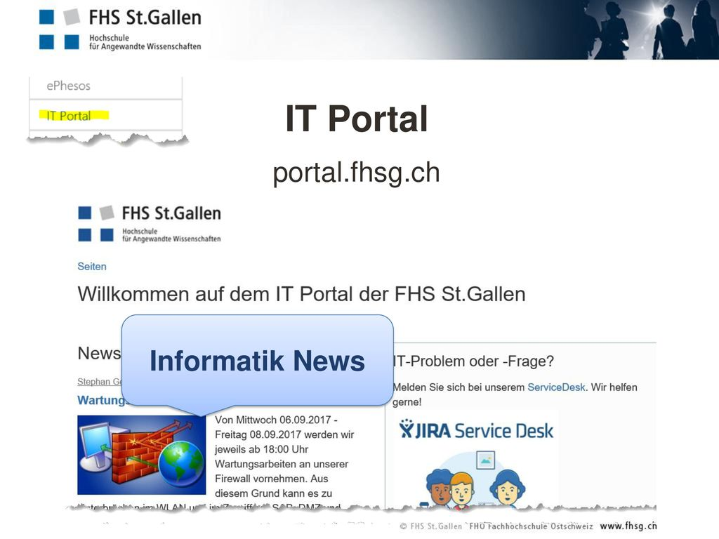 IT Portal portal.fhsg.ch Informatik News