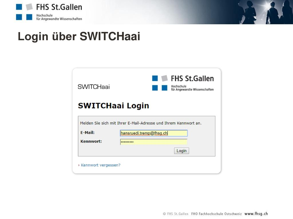 Login über SWITCHaai