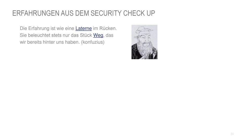 Erfahrungen aus dem Security Check UP