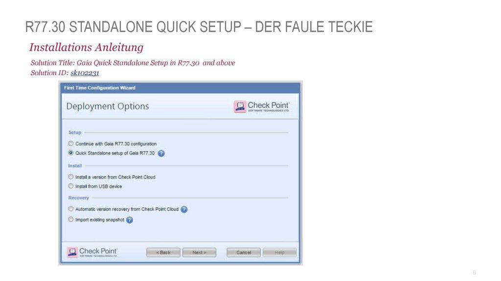 R77.30 Standalone Quick Setup – Der Faule Teckie