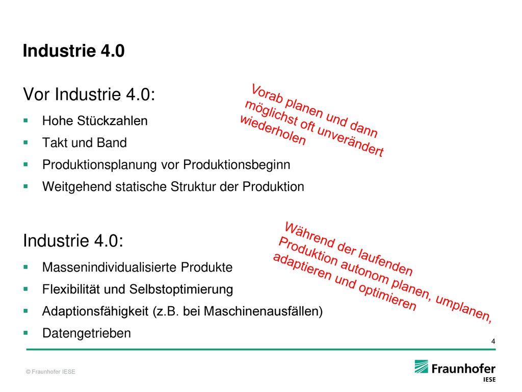 Industrie 4.0 Vor Industrie 4.0: Industrie 4.0: Hohe Stückzahlen