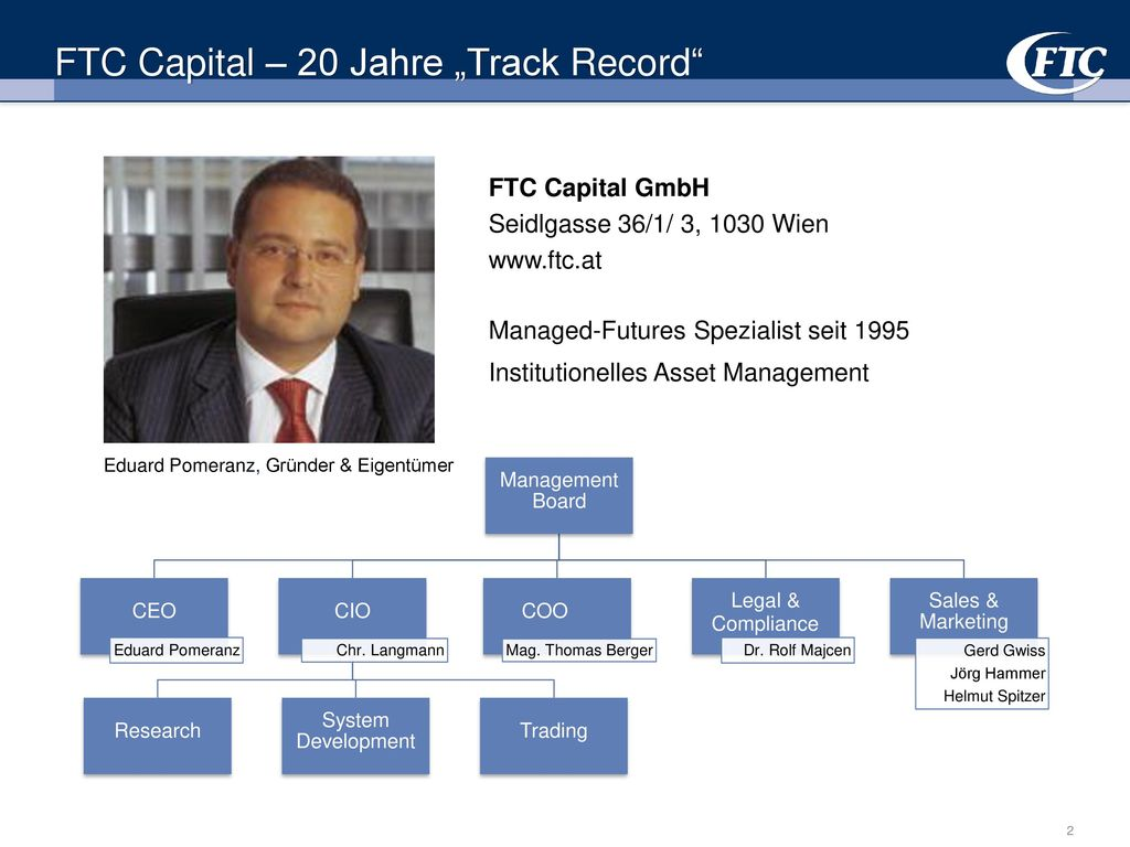 "FTC Capital – 20 Jahre ""Track Record"