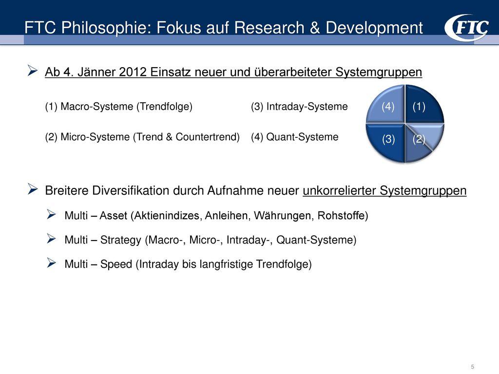 FTC Philosophie: Fokus auf Research & Development