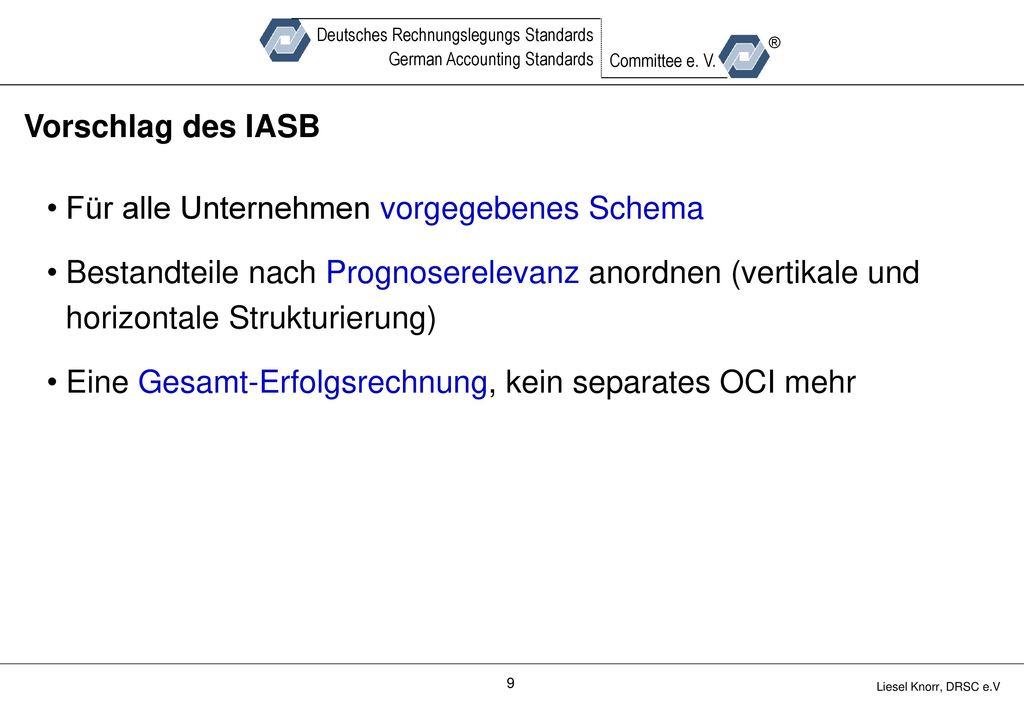 Vorschlag des IASB Für alle Unternehmen vorgegebenes Schema. Bestandteile nach Prognoserelevanz anordnen (vertikale und horizontale Strukturierung)