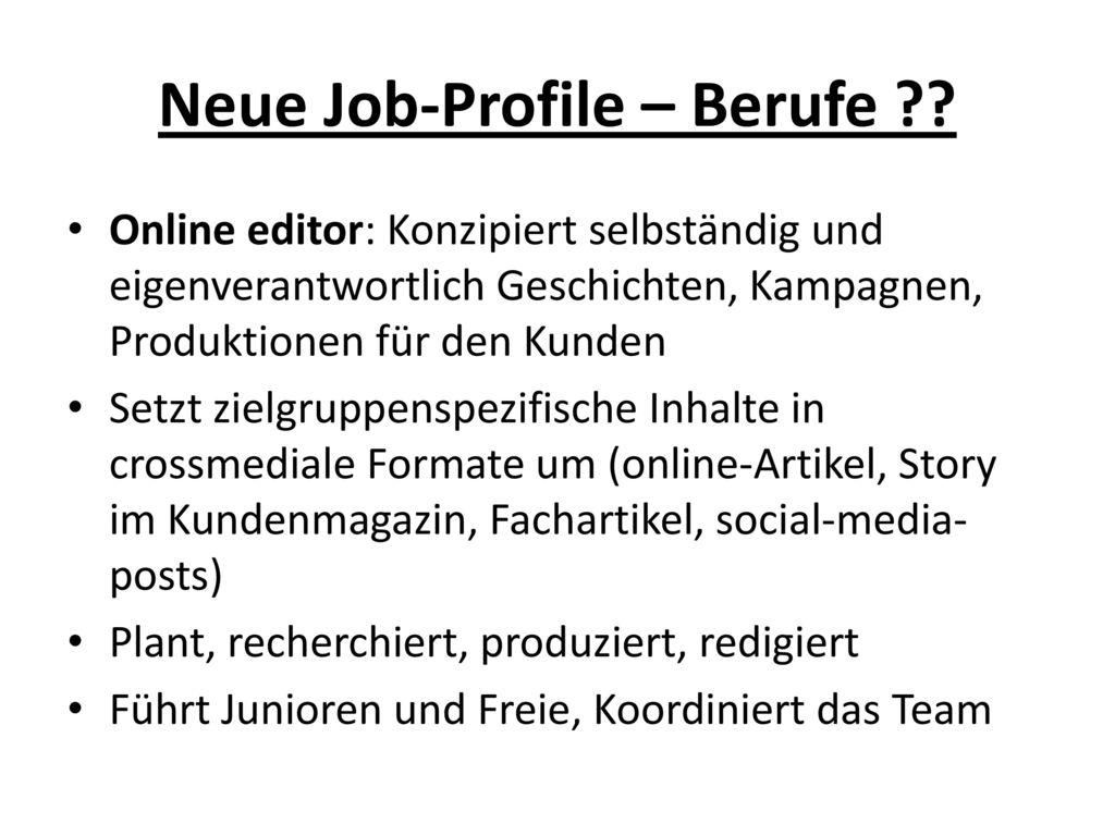 Neue Job-Profile – Berufe