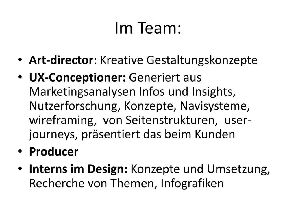 Im Team: Art-director: Kreative Gestaltungskonzepte