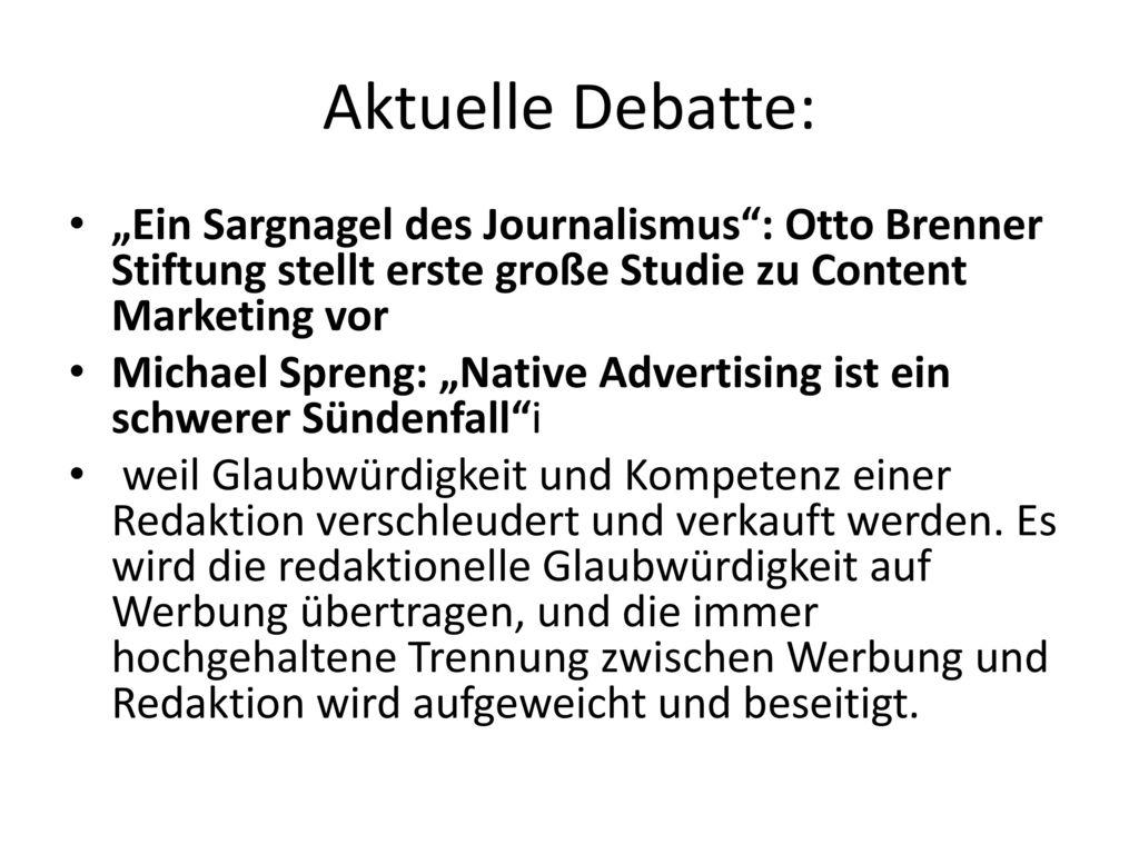 """Aktuelle Debatte: """"Ein Sargnagel des Journalismus : Otto Brenner Stiftung stellt erste große Studie zu Content Marketing vor."""