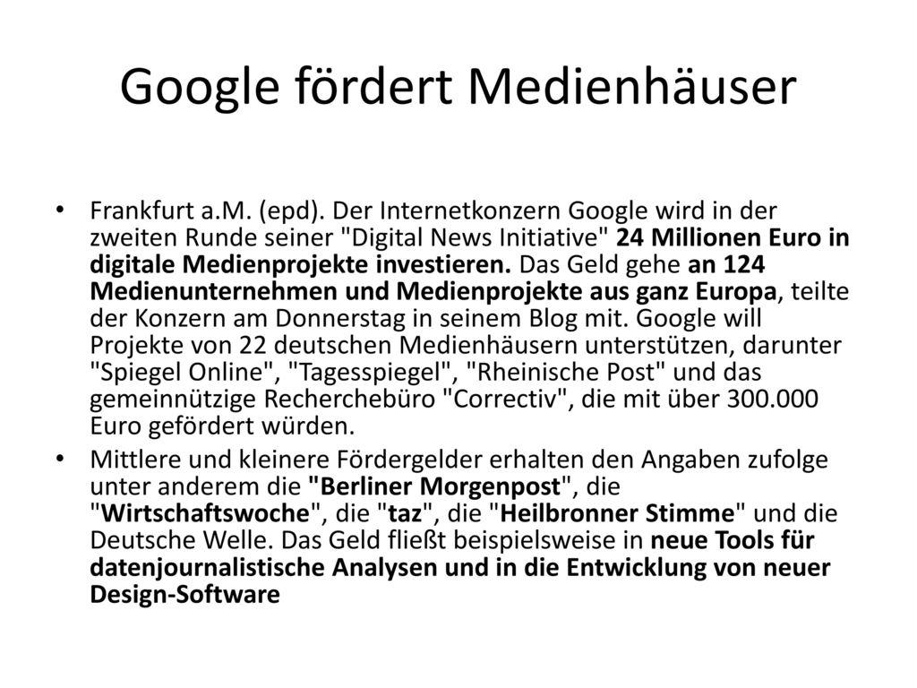 Google fördert Medienhäuser