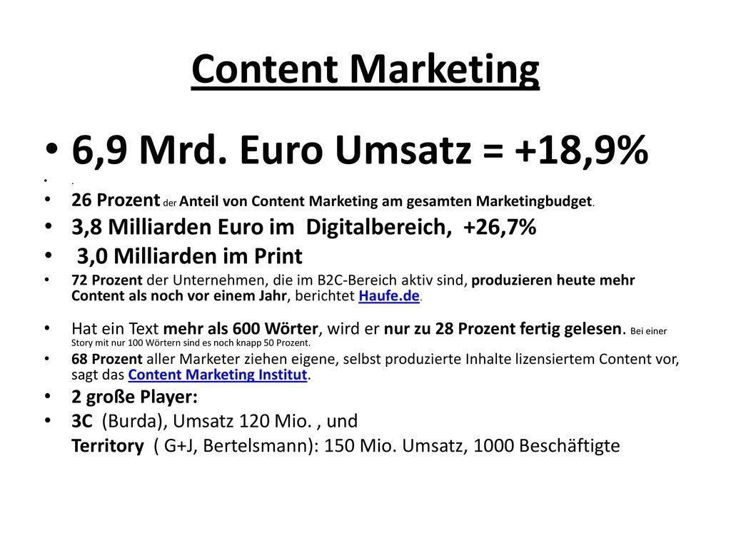 Content Marketing 6,9 Mrd. Euro Umsatz = +18,9%