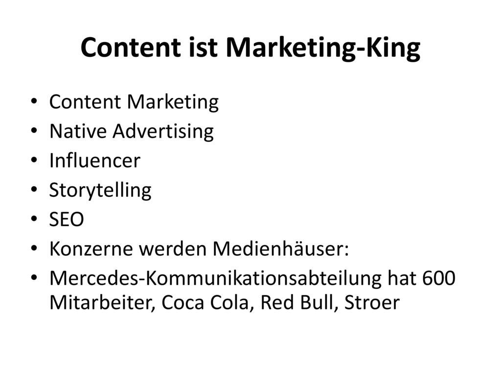Content ist Marketing-King