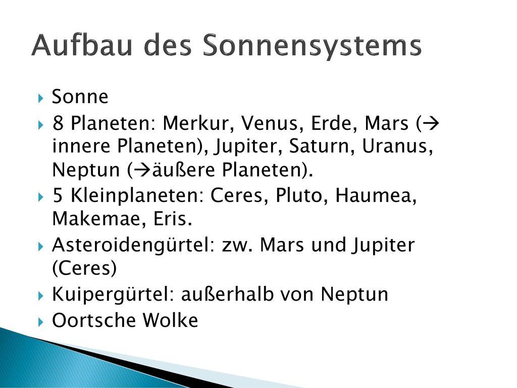 Aufbau des Sonnensystems