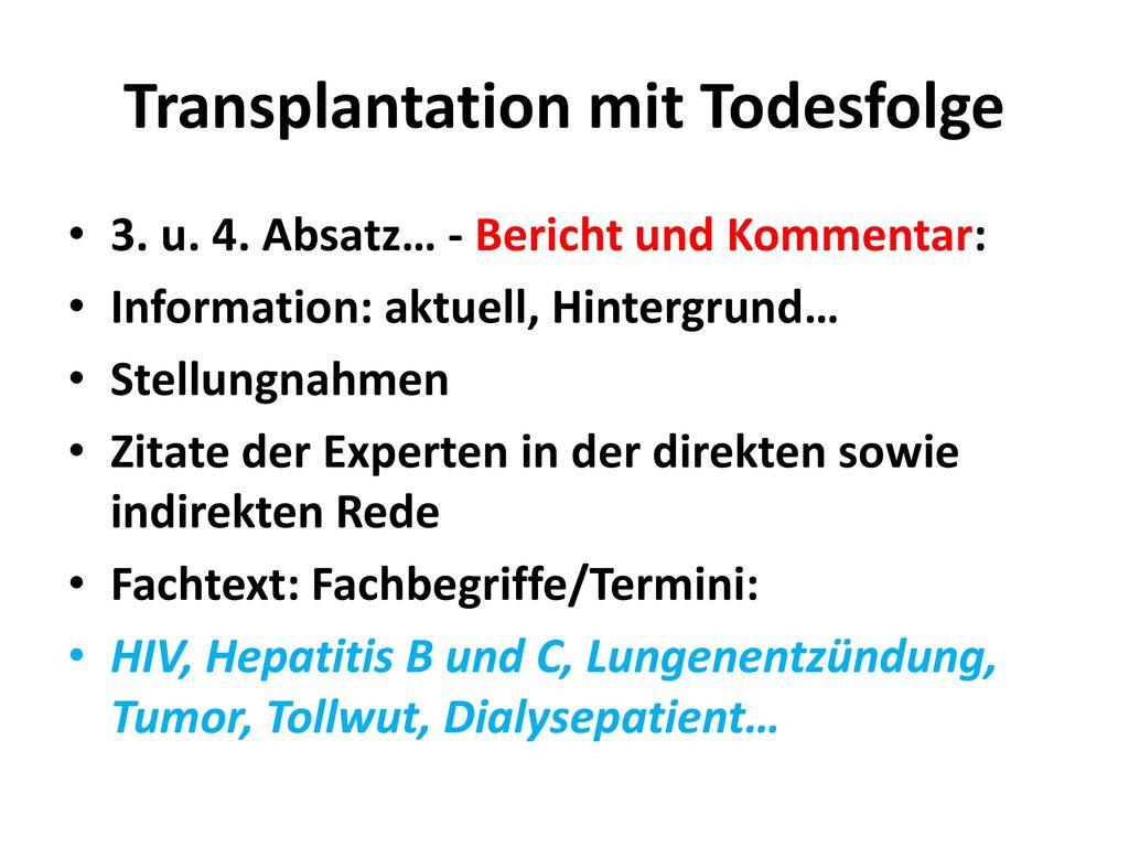 Transplantation mit Todesfolge