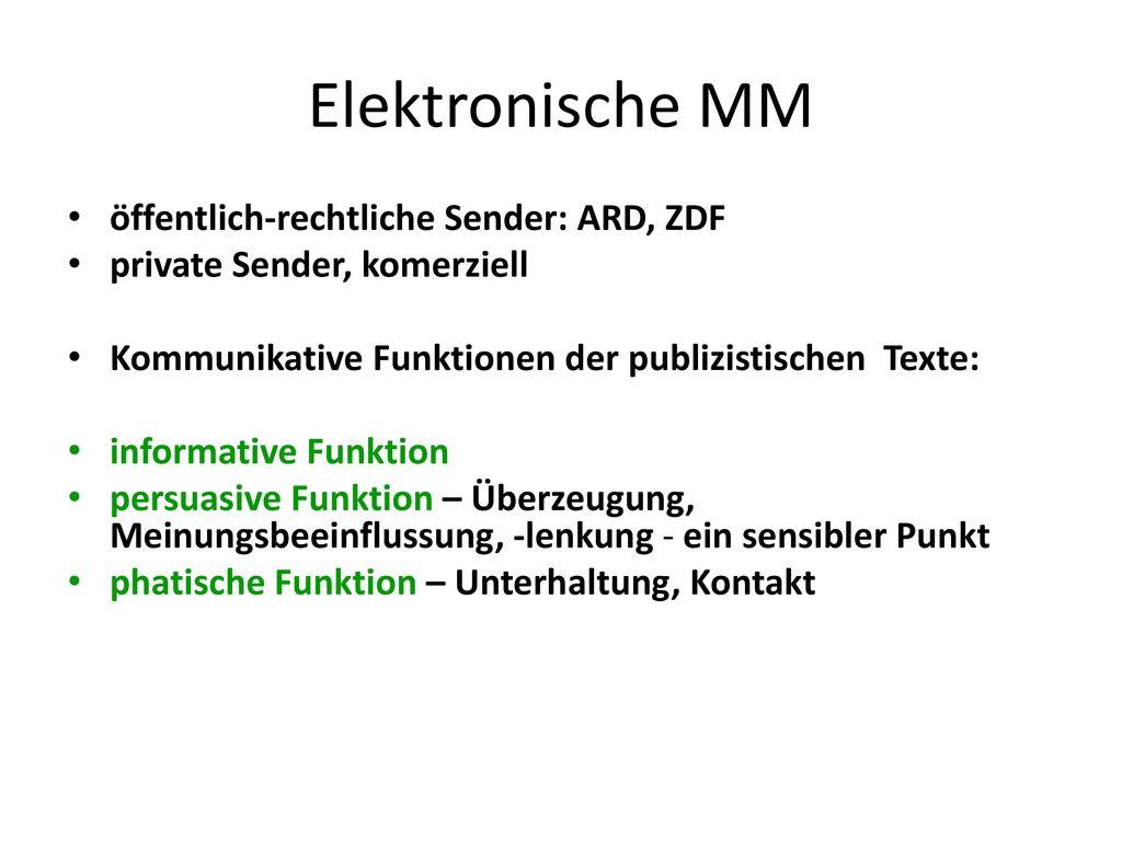 Elektronische MM öffentlich-rechtliche Sender: ARD, ZDF