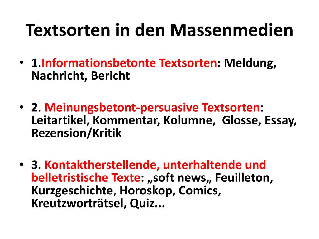 Textsorten in den Massenmedien