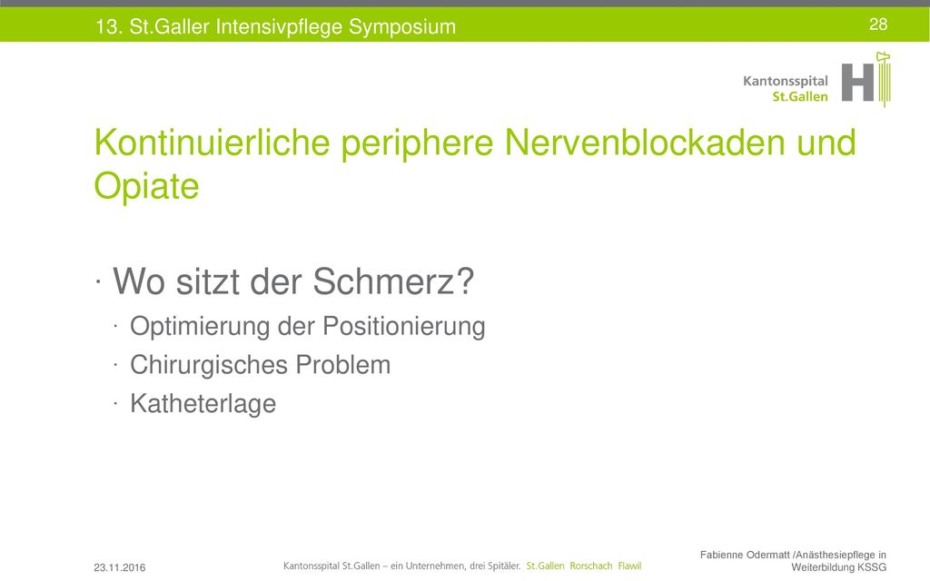 Kontinuierliche periphere Nervenblockaden und Opiate