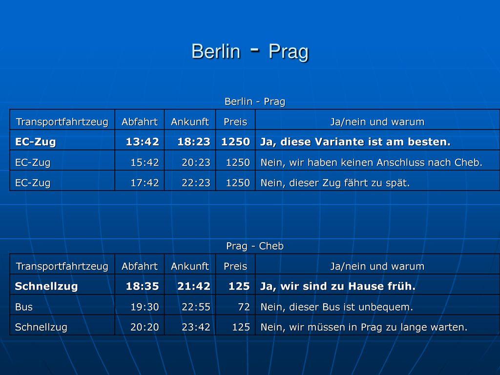 Berlin - Prag Berlin - Prag. Transportfahrtzeug. Abfahrt. Ankunft. Preis. Ja/nein und warum. EC-Zug.