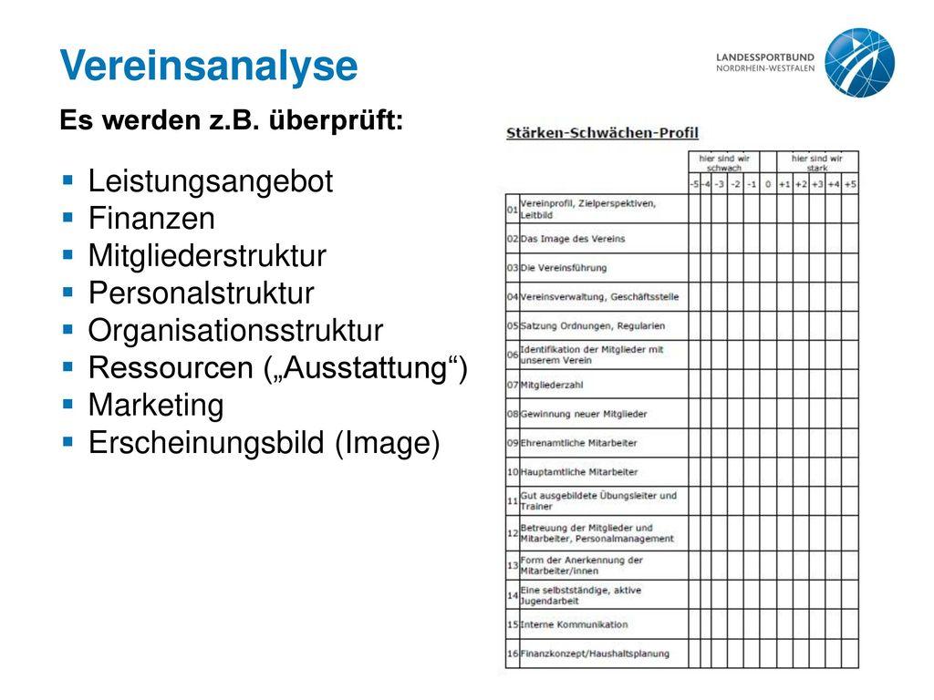 Vereinsanalyse Es werden z.B. überprüft: