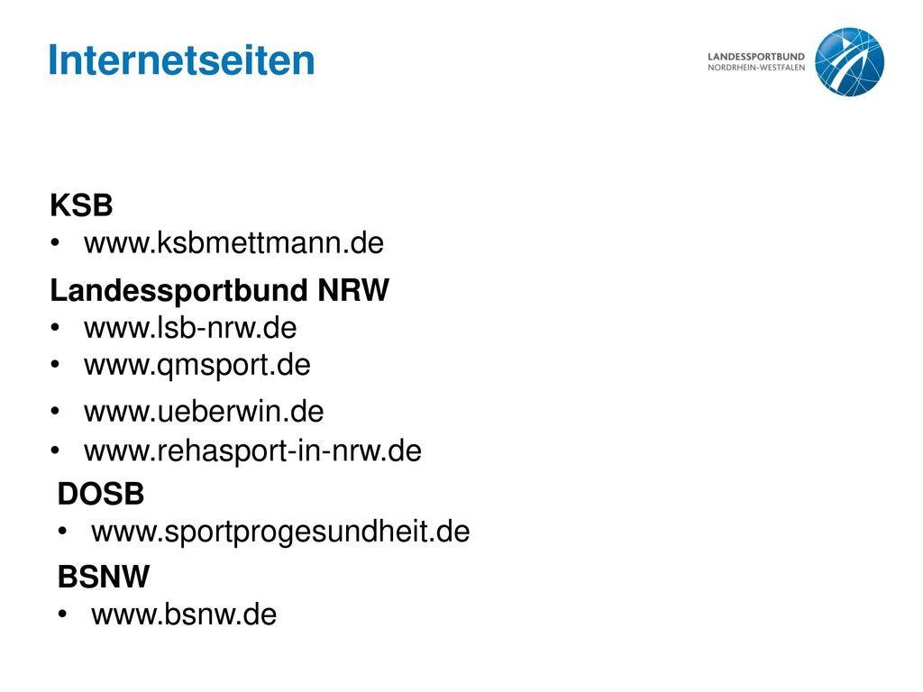 Internetseiten KSB www.ksbmettmann.de Landessportbund NRW