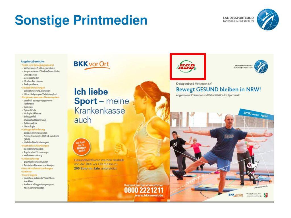 """Sonstige Printmedien Siehe Folie 12: Zeitschrift """"Wir im Sport"""