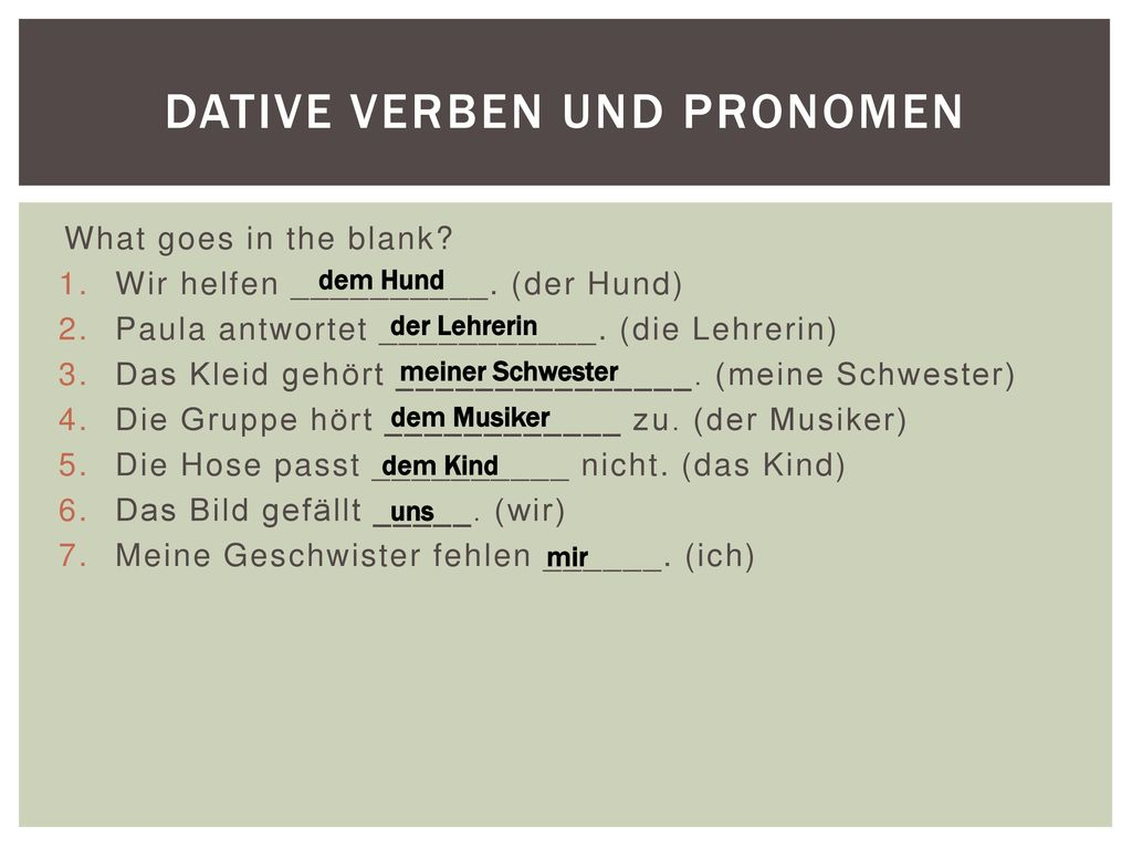 dative verben und pronomen