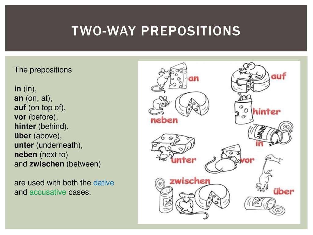Two-way prepositions The prepositions in (in), an (on, at),