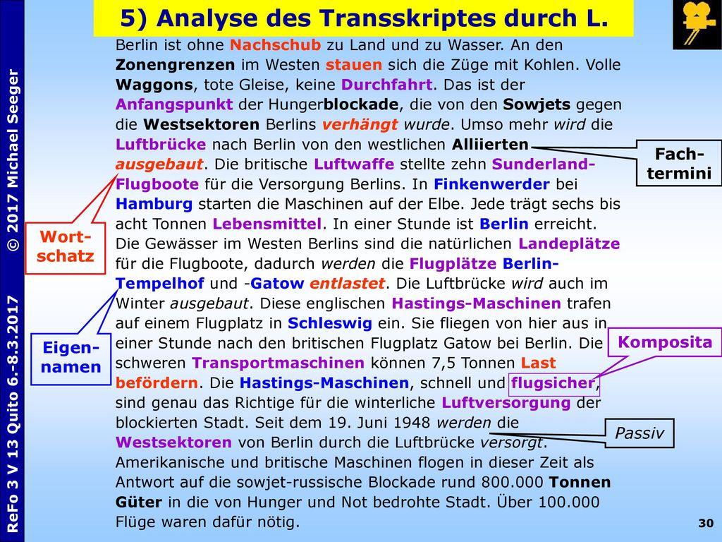 5) Analyse des Transskriptes durch L.