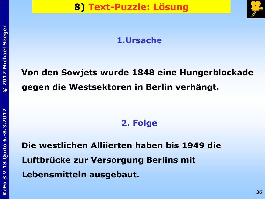 8) Text-Puzzle: Lösung Ursache