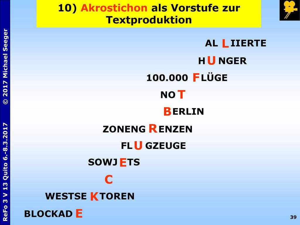 10) Akrostichon als Vorstufe zur Textproduktion