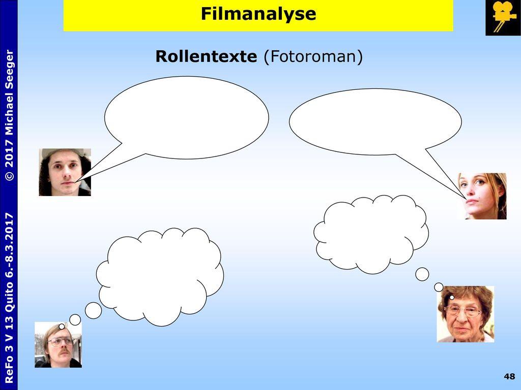 Filmanalyse Rollentexte (Fotoroman)
