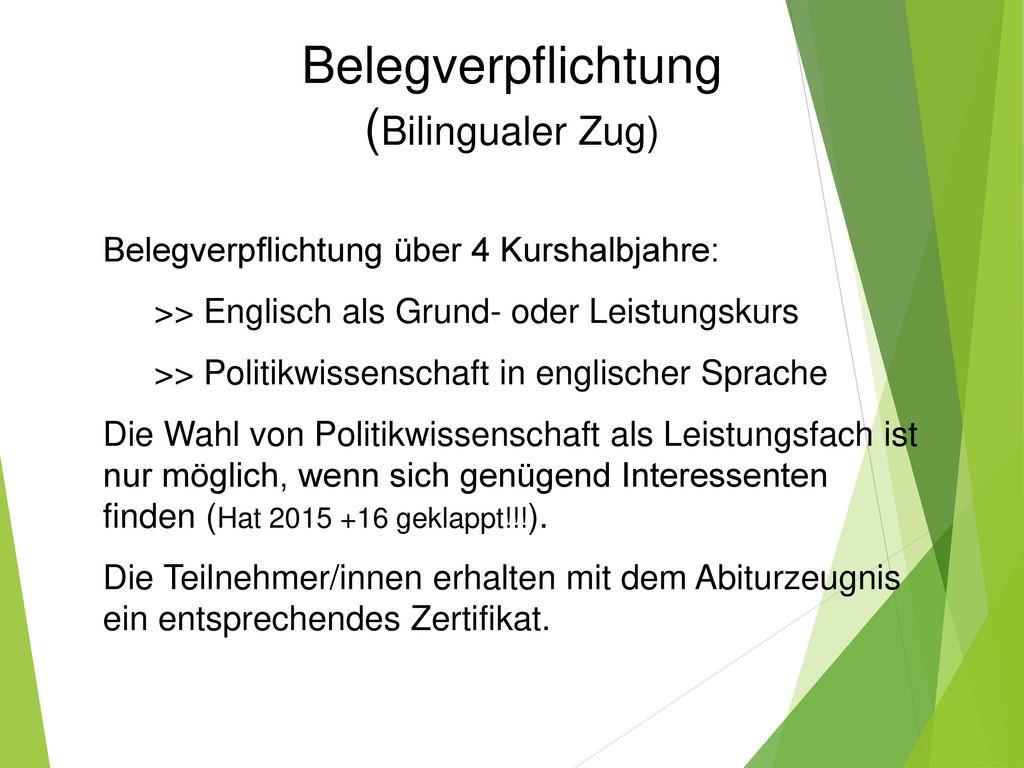 Belegverpflichtung (Bilingualer Zug)