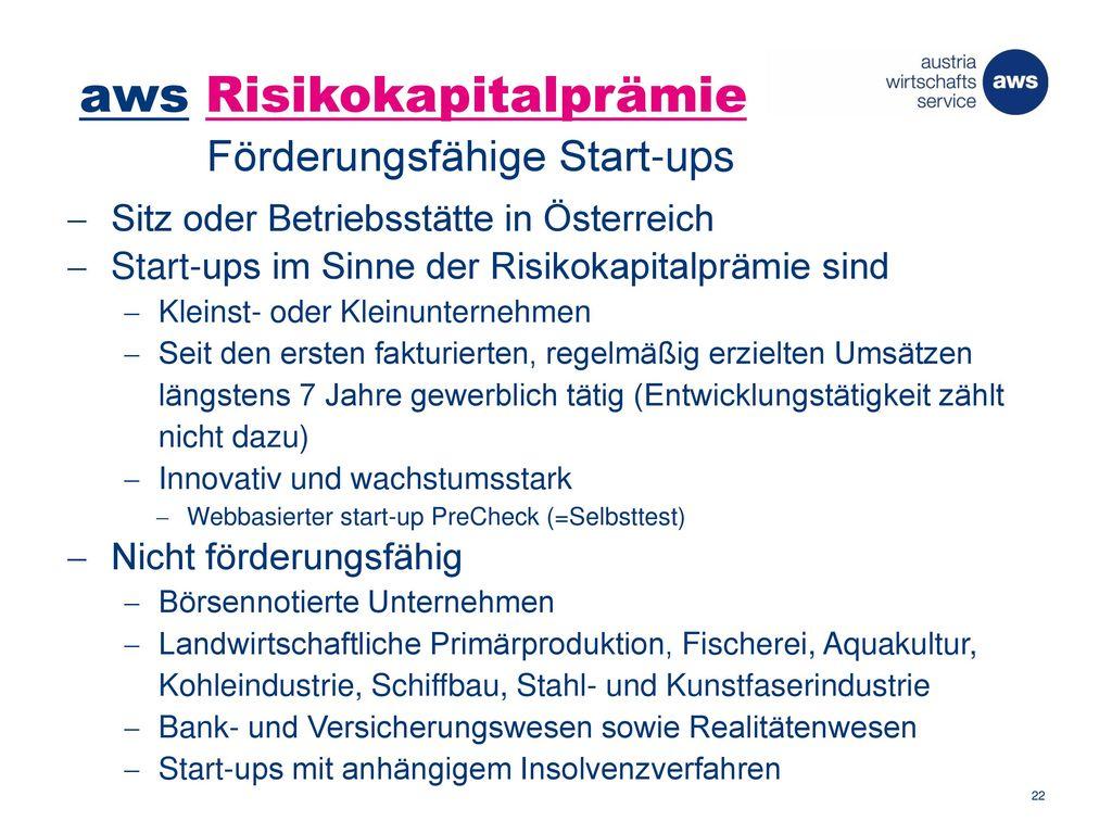 aws Risikokapitalprämie Förderungsfähige Start-ups