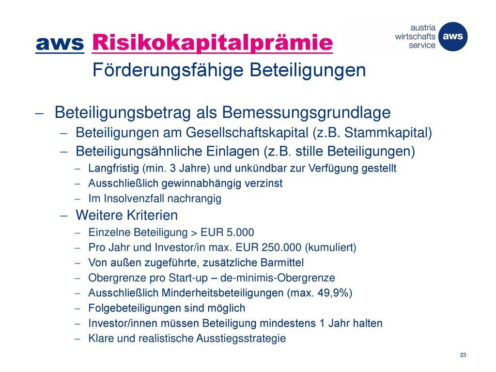 aws Risikokapitalprämie Förderungsfähige Beteiligungen